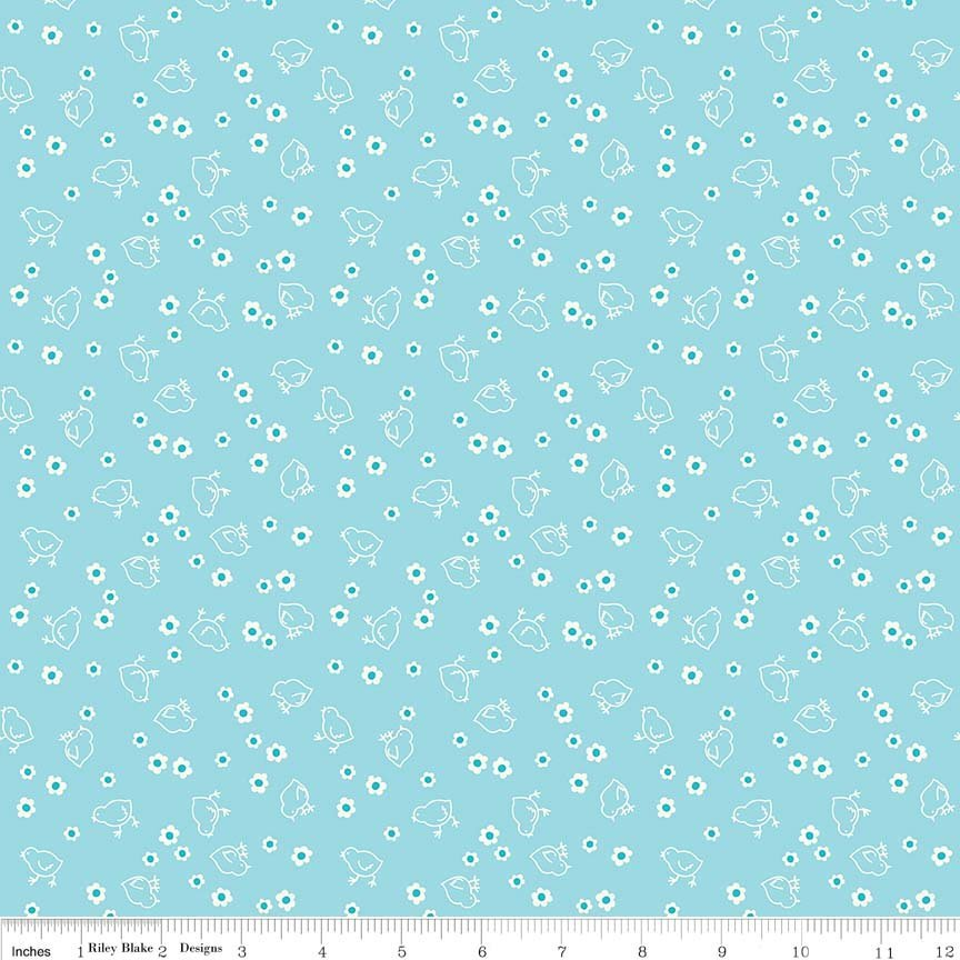 108 Lori Holt Aqua Chicks Backing fabric