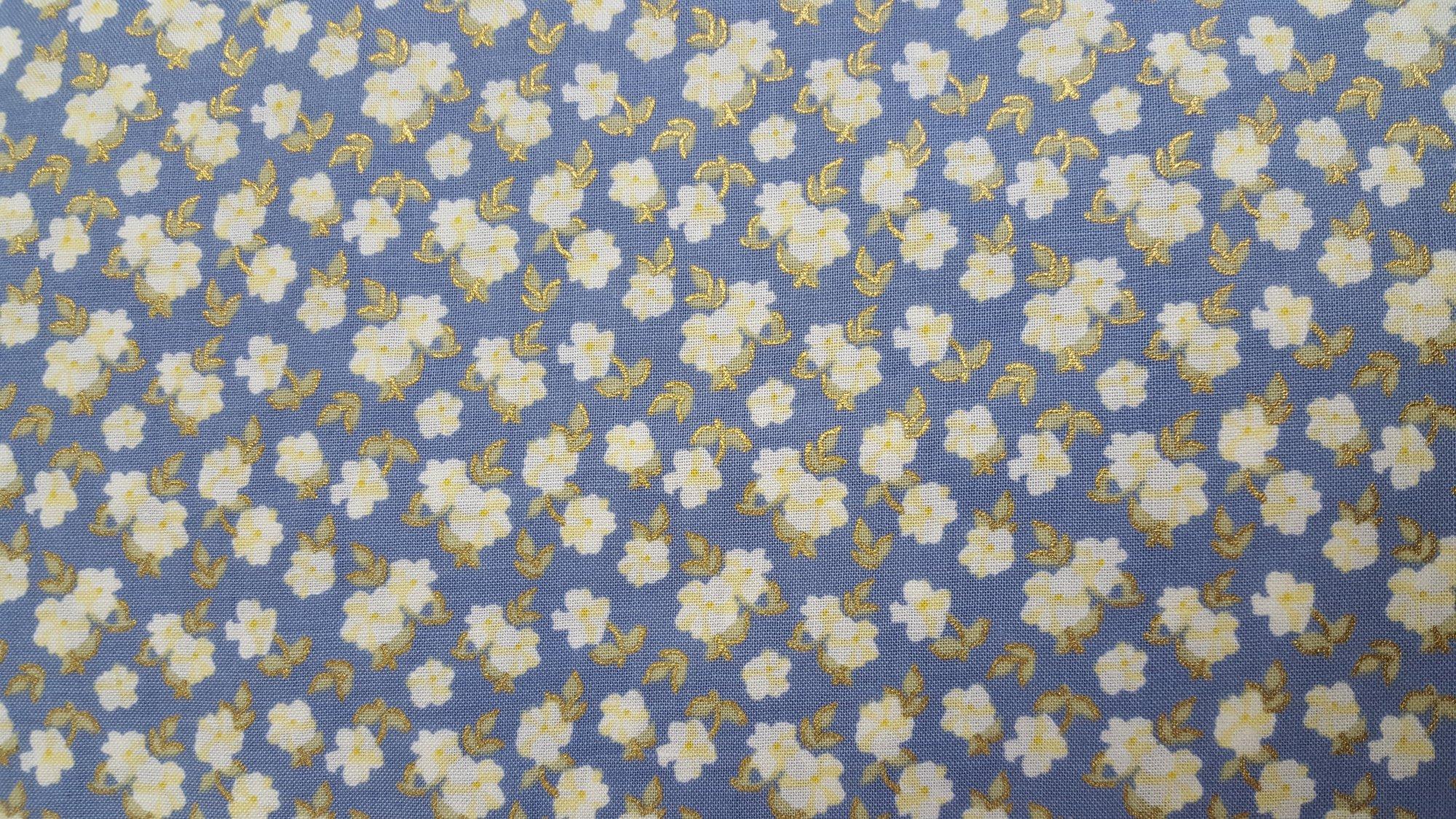 Lecien La Conner Metallic Blue Pansies