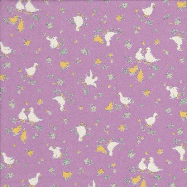 Retro 30s Child Smile Ducks on lavender