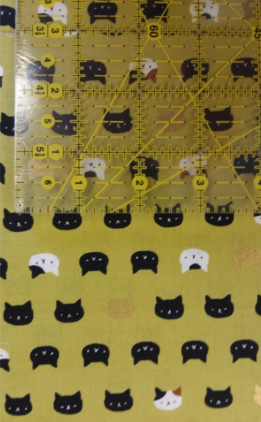 Quilt Gate Matryoka Cat Heads Metallic on Green