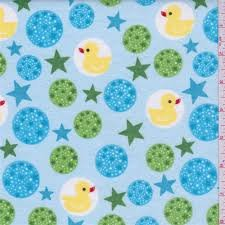 Flannel Ducks in blue bubbles