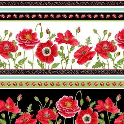 Henry Glass Poppy Perfection Stripe