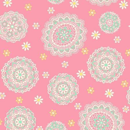 Quilt Gate lace circles on pink