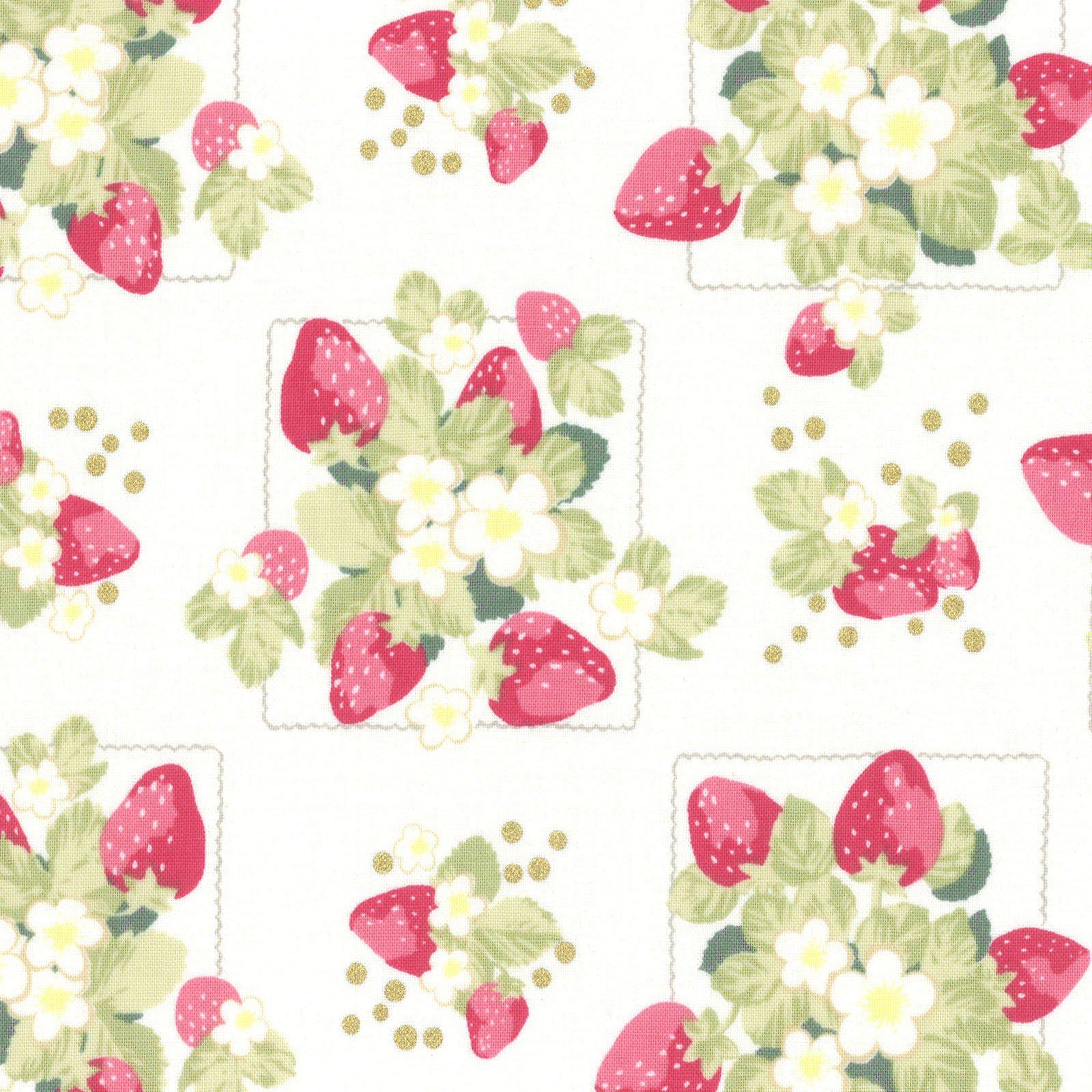 Lecien La Conner Metallic Cream Strawberries