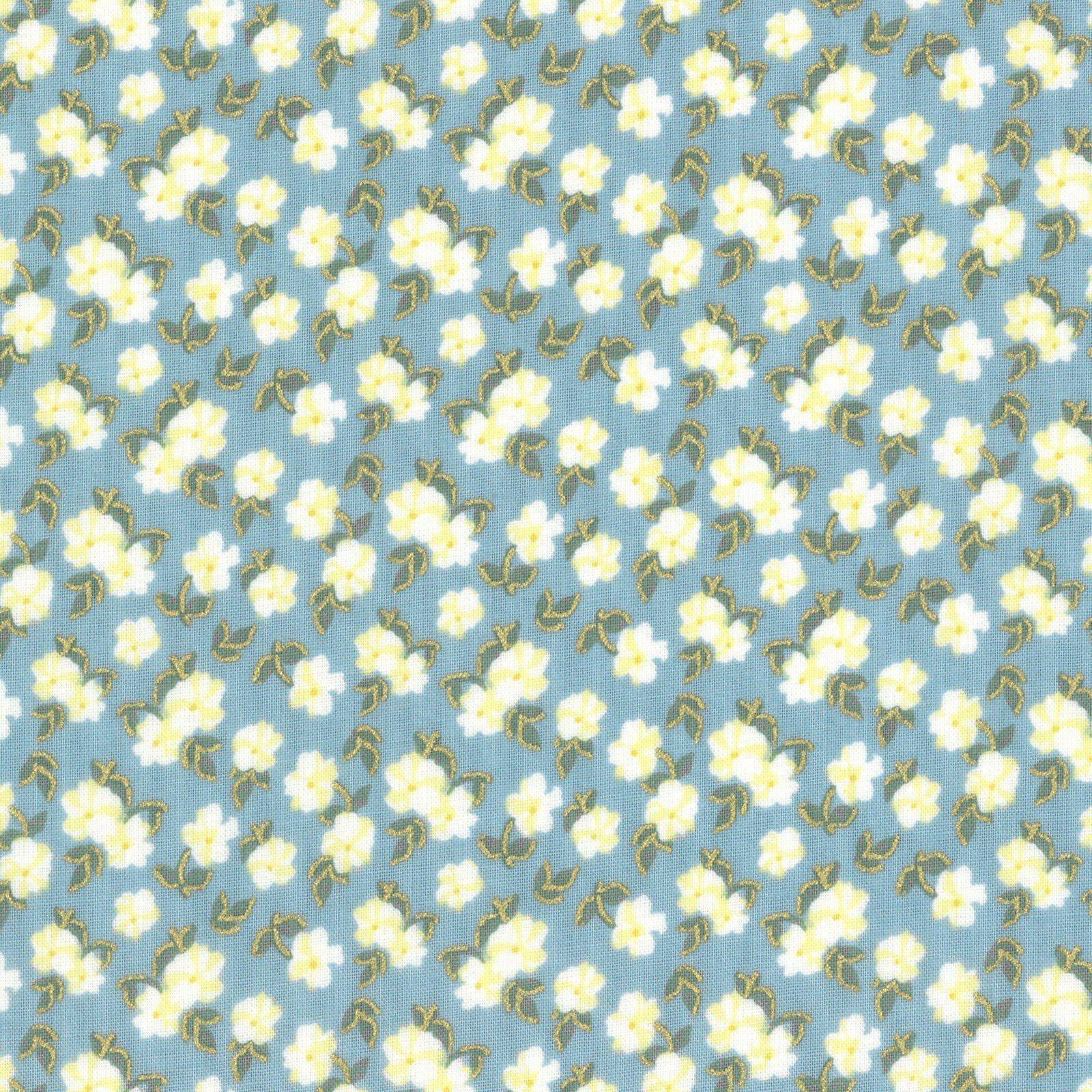 Lecien La Conner Metallic Pansies lt blue