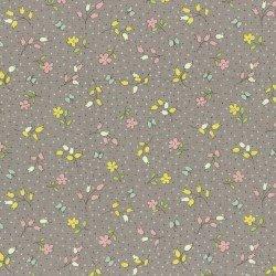 Lecien Retro 30s Child Smile Flowers on Gray