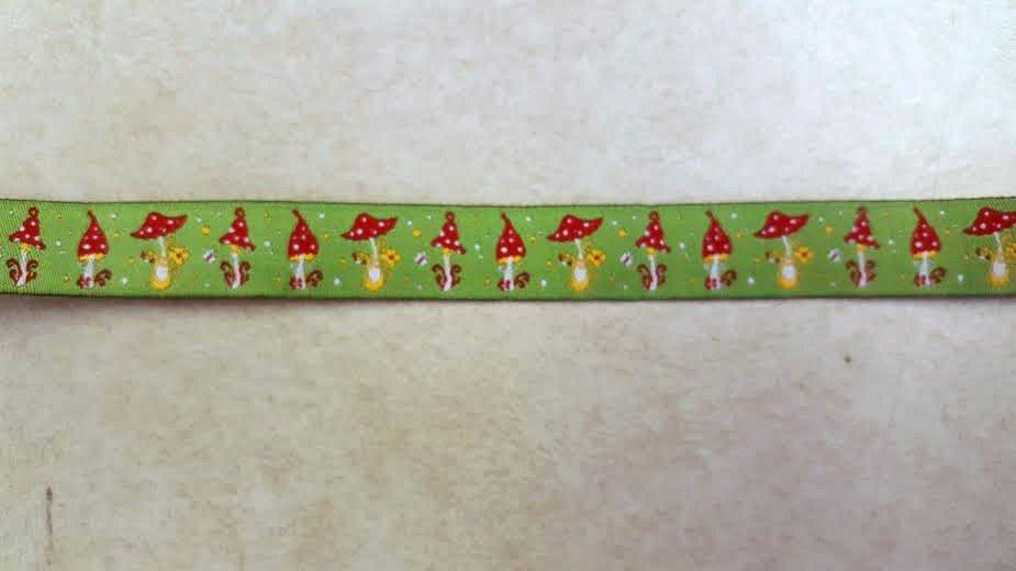 15mm Green Mushroom woven ribbon 1 yard
