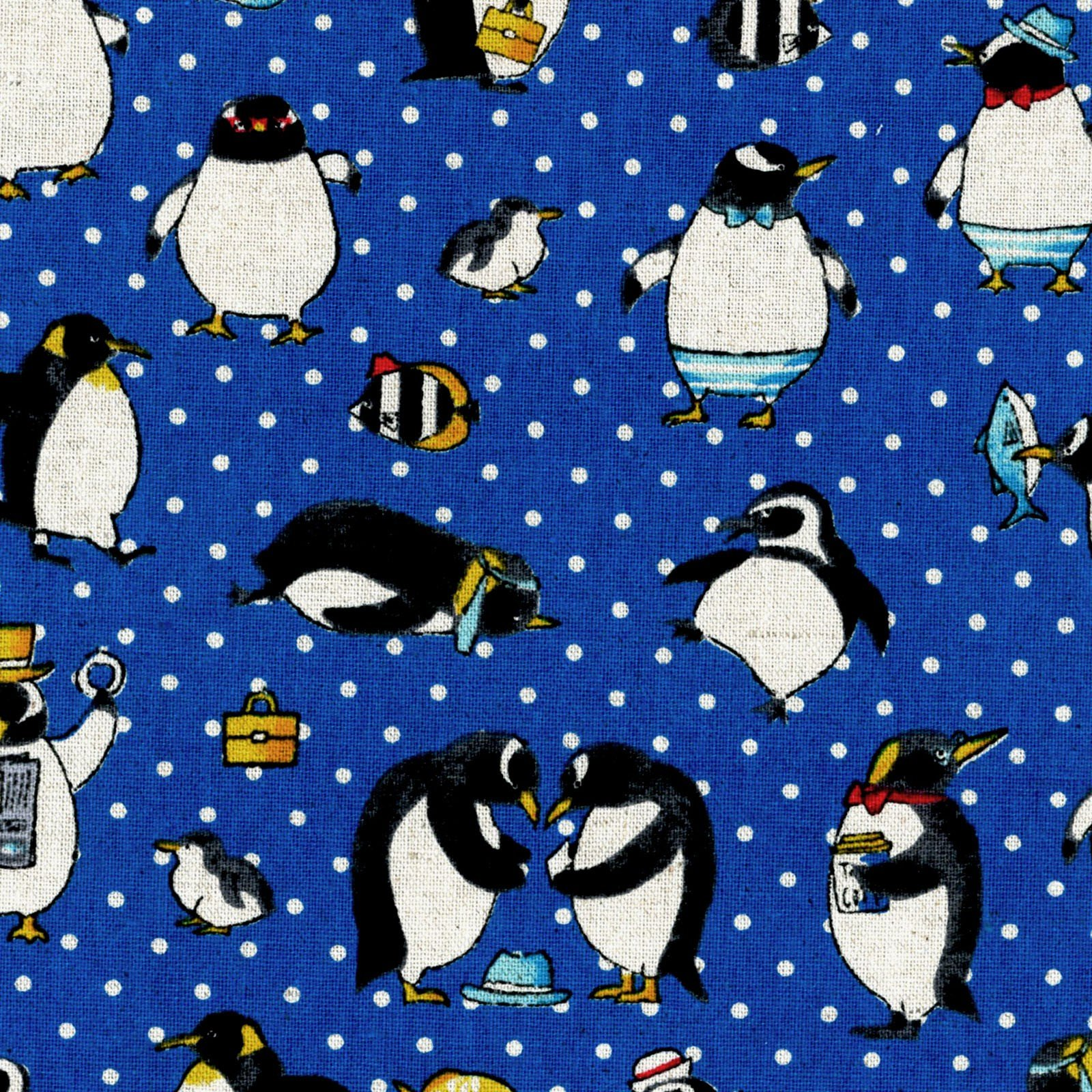 Cosmo Penguins on Blue Canvas