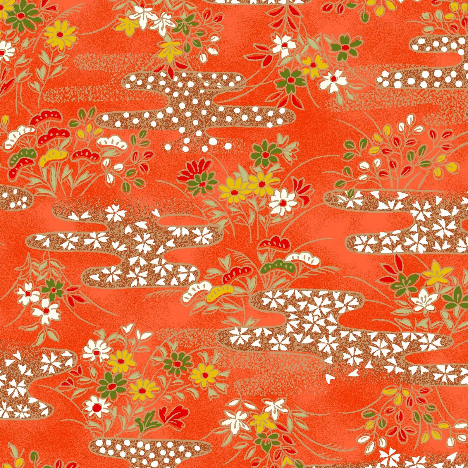 Quilt Gate Chiyogami Metallic on Orange