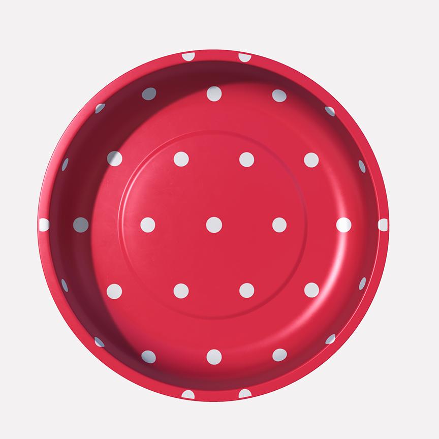 4 Magnetic Pin Bowl Red Polka Dot