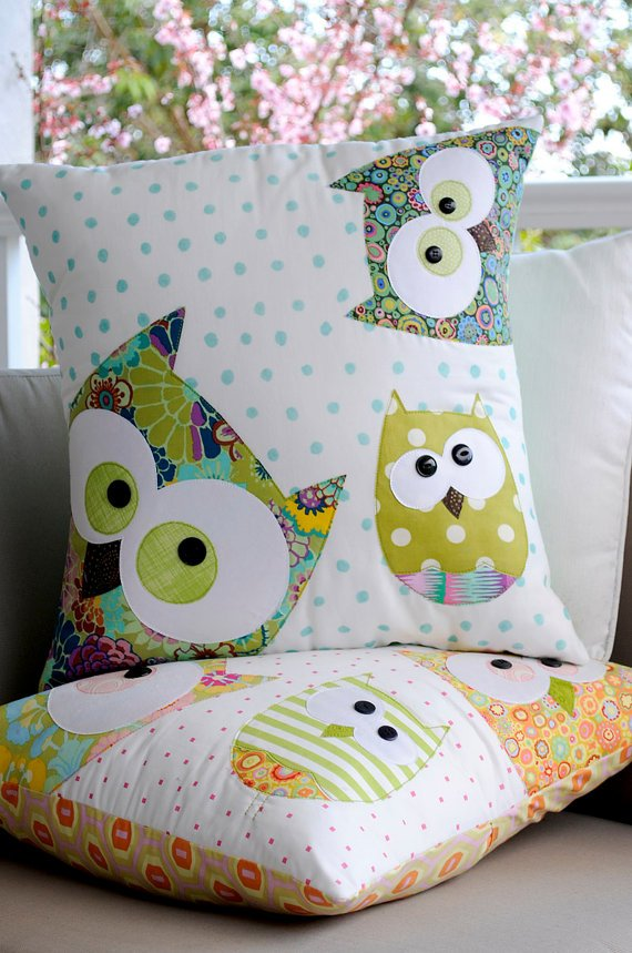 Family of Owls Applique Cushion