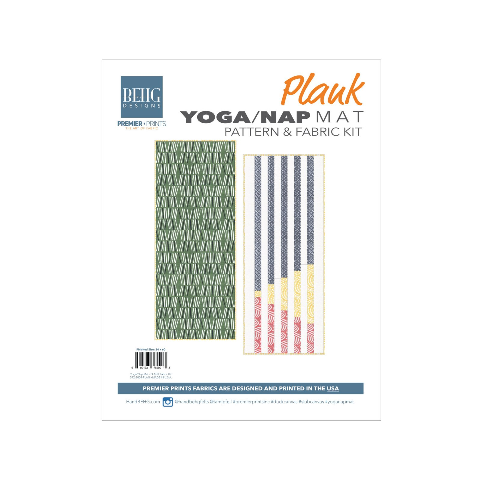 PLANK YOGA/NAP MAT PATTERN & FABRIC KIT