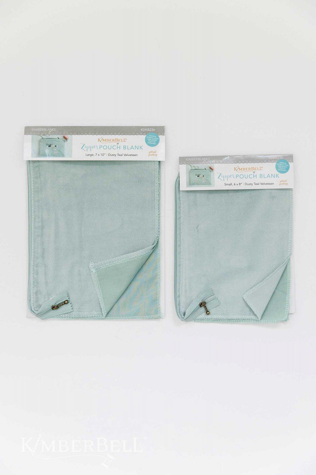 Velveteen Zipper Pouch Blank - Dusty Teal