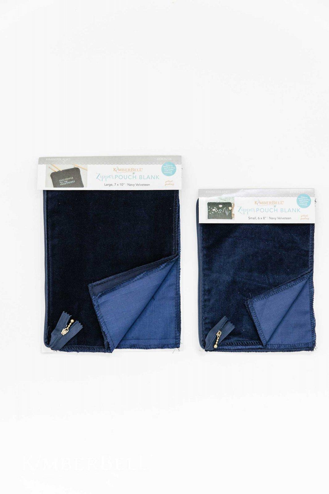 Velveteen Zipper Pouch Blank - Navy
