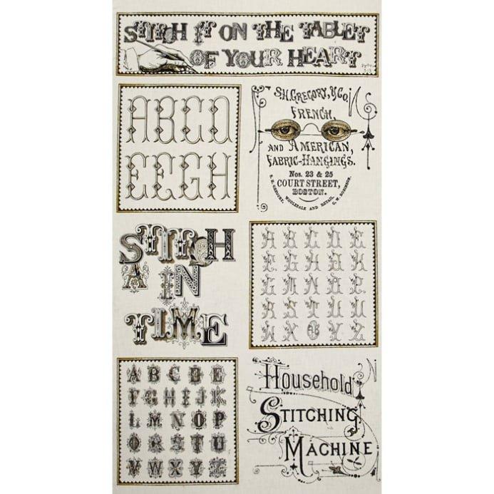 Letter Stitch Cream Letter Stitch 1649-24054-E Panel