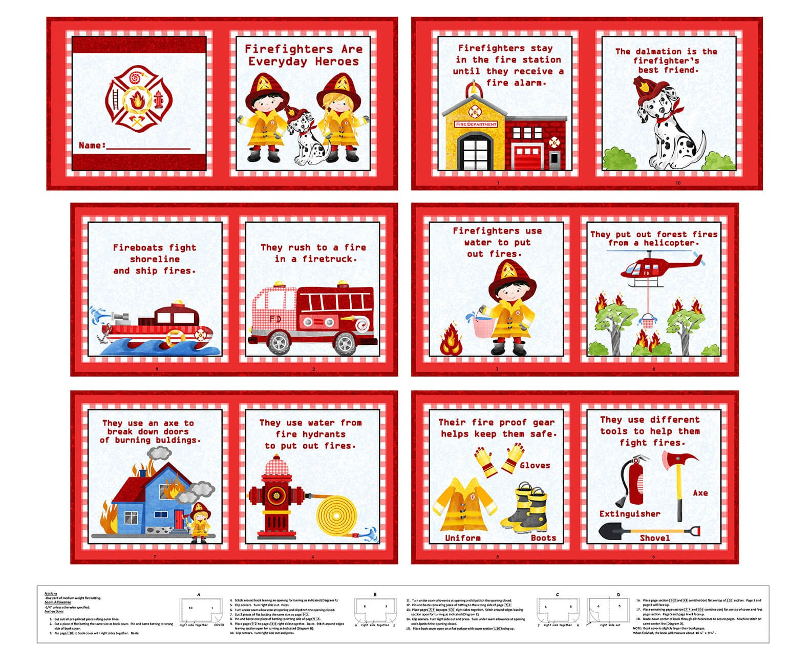 Everyday Heros Firefighter Book Panel - 36 Red 1353P-88