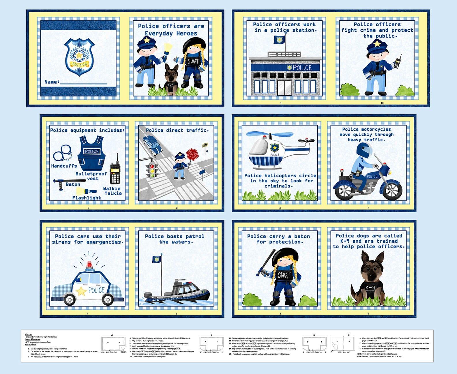 Everyday Heros Firefighter Book Panel - 36 Lt. Blue 1354P-70