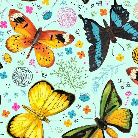 Fly Free-Tossed Butterflies Blue 27084 B