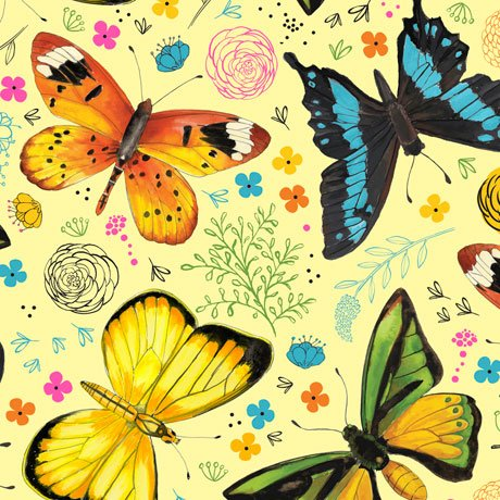 Fly Free-Tossed Butterflies Yellow 27084 S
