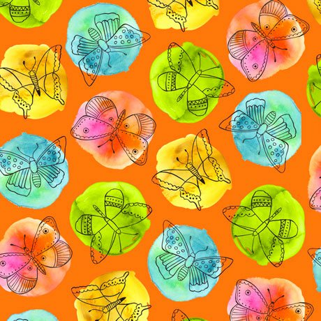 Fly Free-Sketched Butterflies on Dots Orange 27085 O