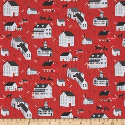 Folk Art Fantasy Houses Red 313210