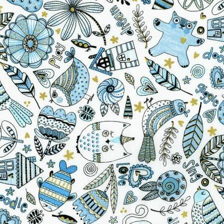 Doodle Pop Blue Birds Feathers & Cats Metallic 3377002