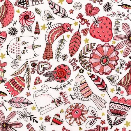 Doodle Pop Pink Birds Feathers & Cats Metallic 3377003
