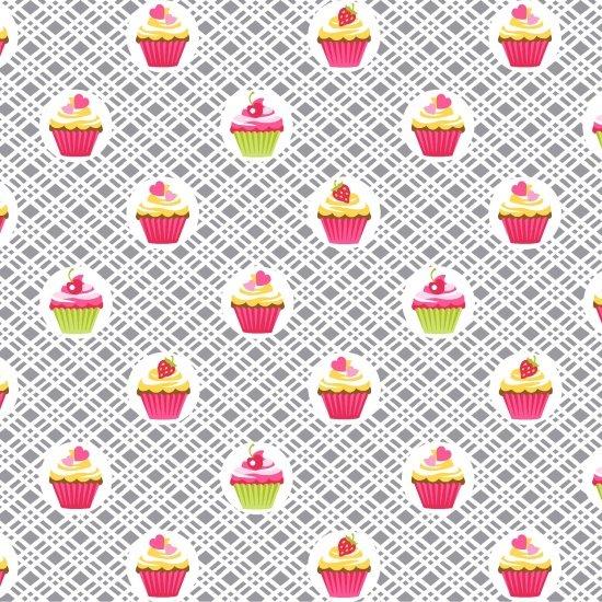 Cupcakes on Gray Checks Cupcake Cafe 3895-90