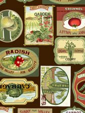 Country Fresh Vegetables Allover Labels Multi 61312-9