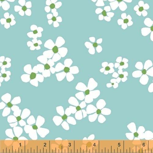 Daisy Chain Tossed Flower Aqua 4313212