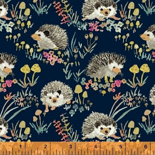 Enchanted Forest Happy Hedgehog - Navy 43499-2