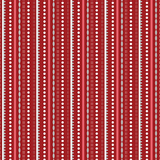 Let It Snow Dotted Stripe - Red 4582-10