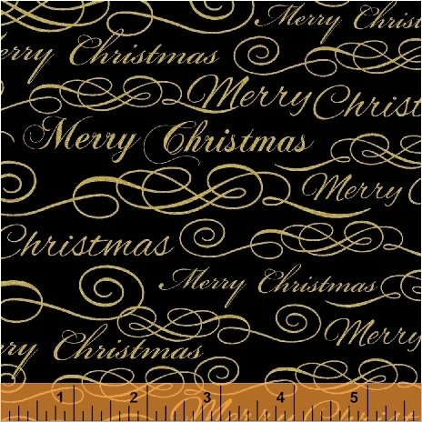 Deck the Halls Merry Christmas Metallic Black 50192M3