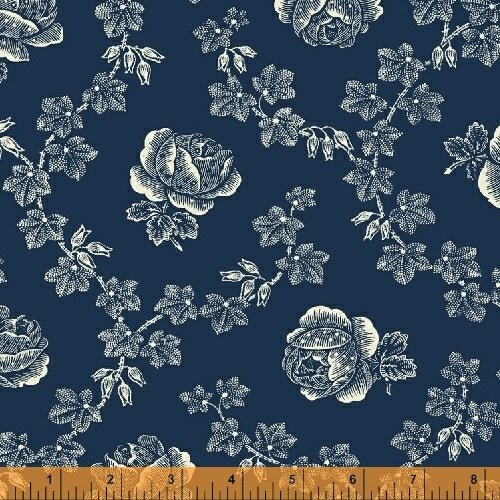 Abigail Blue Navy Trellis Rose 50875-1