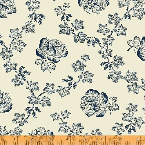 Abigail Blue Cream Trellis Rose 50875-2