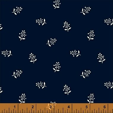 Abigail Blue Navy Flower Sprig 50880-1