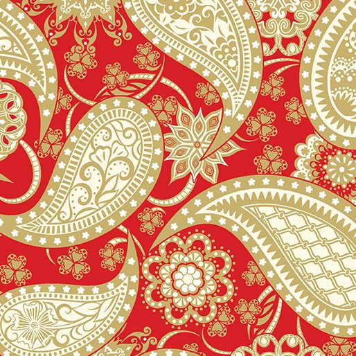 Jubilee 125th Paisley Wide Backing Red/Gold 5490W10