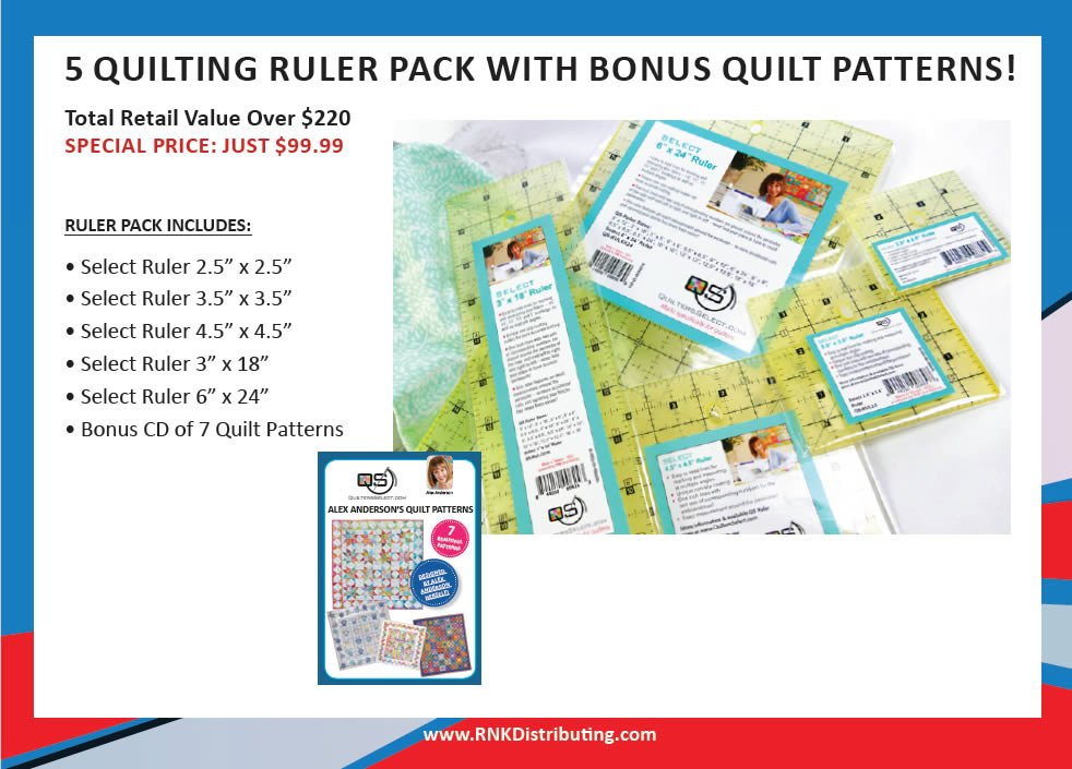 5 Quilting Ruler pack with Alex Anderson quilt pattern