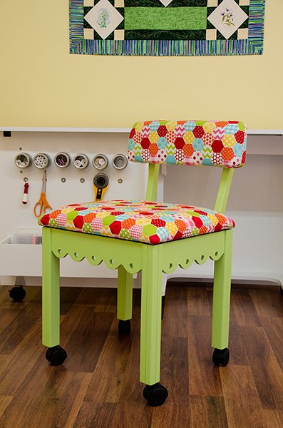 Green Sewing Chair Riley Blake Hexi White