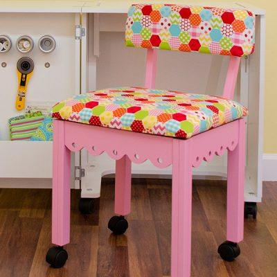 Pink Sewing Chair Riley Blake Hexi White
