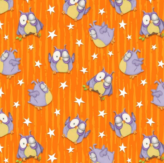 Chills and Thrills Frankenstein Owls Tossed Orange Stripe Stars 6968G-33