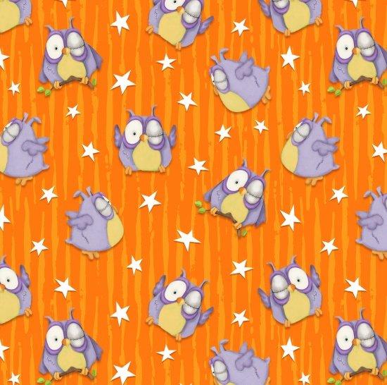 Chills and Thrills Frankenstein Owls Tossed Orange Stripe Stars 6968G-33