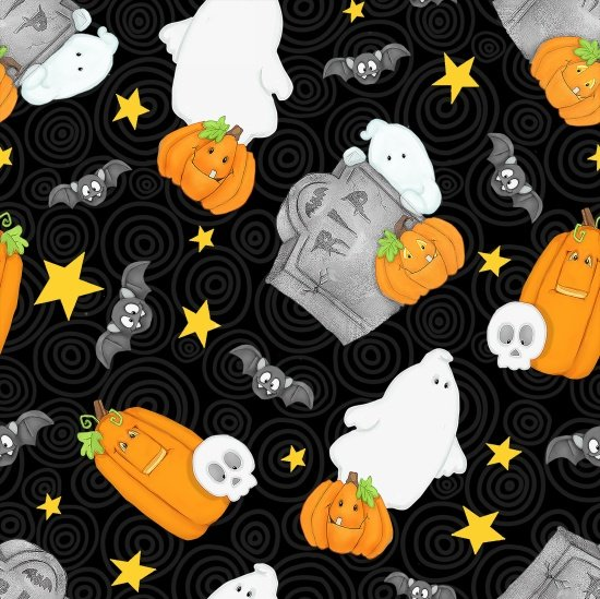 Chills and Thrills Ghosts Skulls Pumpkins Bats Tossed Grave Stones Black 6973G-99