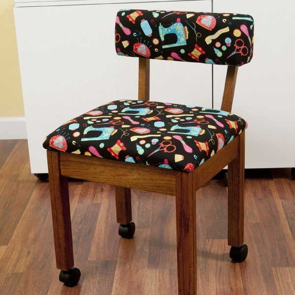 Oak Sewing Chair with Black Sewing Room Notions