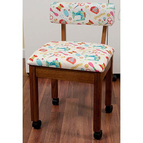 Oak Sewing Chair with White Sewing Room Notions