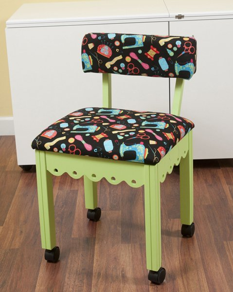 Green Sewing Chair with Black Sewing Room Notions