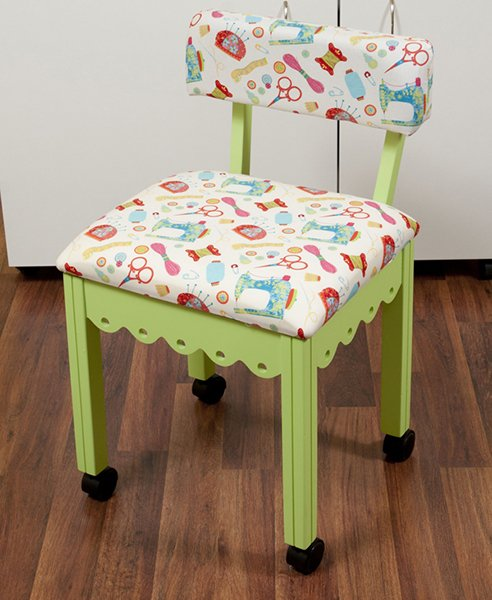 Green Sewing Chair with White Sewing Room Notions