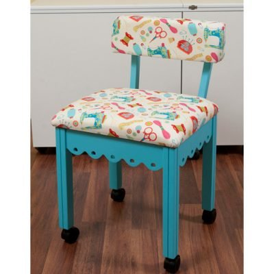 Blue Sewing Chair with White Sewing Room Notions