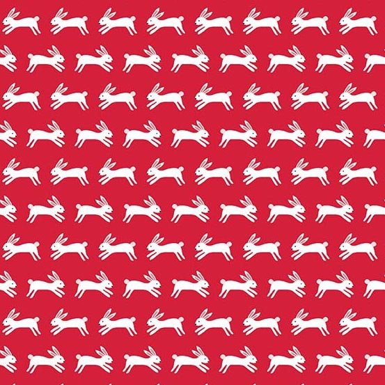 Forest Talk Jumping Rabbits Red A-8487-BR