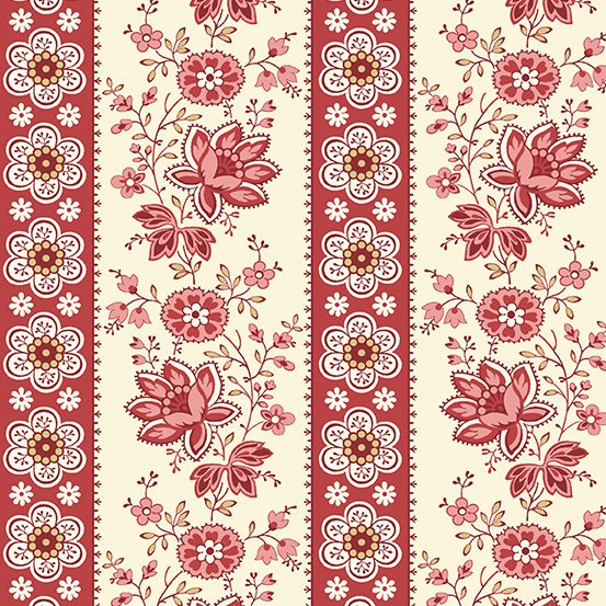 Sweet Sixteen - Red Floral Stripe